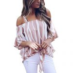 Wobuoke Women Striped Spaghetti Strap Off Shoulder Waist Tie Blouse Half Sleeve Casual T Shirts Tops