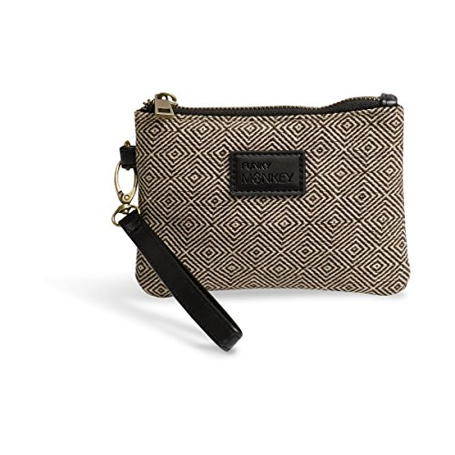 {Ella-Small} Wristlet Wallet Clutch Bag Phone Purse Handbag Black White Herringbone Funky Monkey Fashion