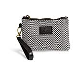 {Emily-Small} Wristlet Wallet Clutch Bag Phone Purse Handbag Black White Herringbone Funky Monkey Fashion