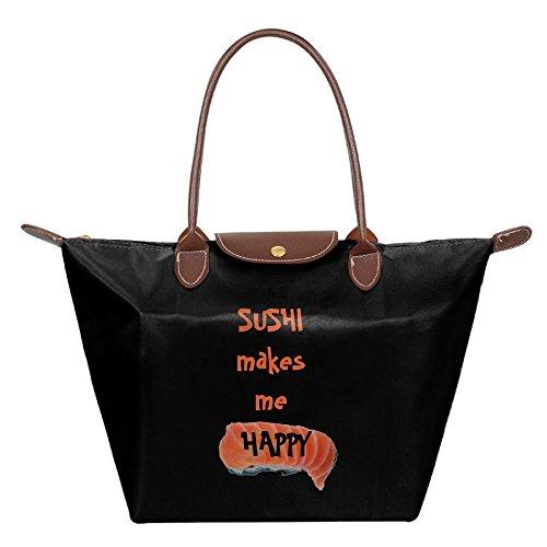 Ojinwangji Sushi Makes Me Happy (2) Waterproof Leather Folded Messenger Nylon Bag Dumplings Travel Tote Hopping Folding School Handbags Black