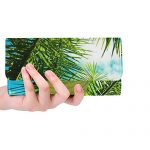 Unique Custom Palm Sky Vacation Island Tree Travel Tropical Women Trifold Wallet Long Purse Credit Card Holder Case Handbag