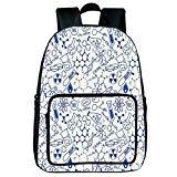 Light Weight Loss Square Front Bag Backpack,Kids Decor,Science Chemistry Geometry Math Nerd Geek Genius Themed Design Artwork,Navy Blue and White,for Children,Print Design.15.7