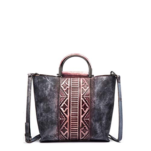 Women Handbags Patchwork Vintage Embossed Genuine Leather Shoulder Crossbody Bag
