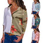 HYIRI Factory Sale Halloween Womens Color Block Floral Print Button T Shirts Tops Blouse