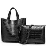 2Pcs Women Handbags Leather Alligator Totes Shoulder Crossbody Ladies Messenger Top-Handle Bags