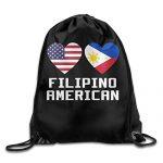 Filipino American Hearts Drawstring Backpack Bag Beam Mouth School Travel Backpack Rucksack Shoulder Bags For Men & Women