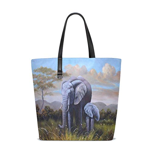 Oil Painting Wild Elephants Tote Bag Purse Handbag Womens Gym Yoga Bags for Girls