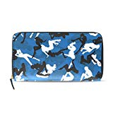 Womens Wallets Blue Camouflage Pattern Leather Passport Wallet Change Purse Zip Handbags