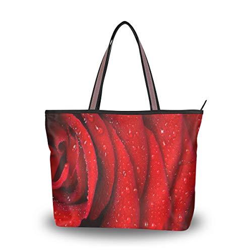Women Shoulder Bag Vintage Handbag Red Rose Petals Tote Bag Top Handle Large Capacity