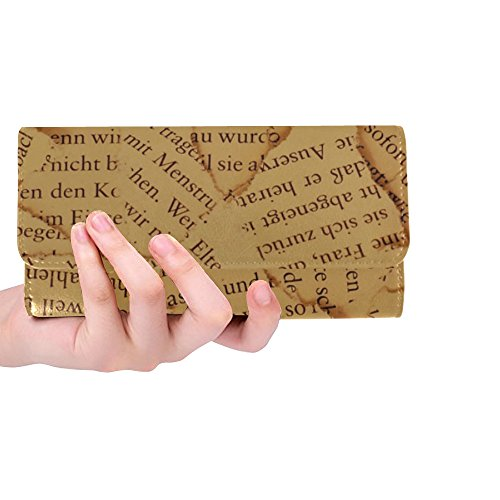Unique Custom Paper Font Letters Torn Book Pages Old Vintage Women Trifold Wallet Long Purse Credit Card Holder Case Handbag