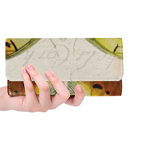 Unique Custom Butterfly Vintage Drawing Women Trifold Wallet Long Purse Credit Card Holder Case Handbag