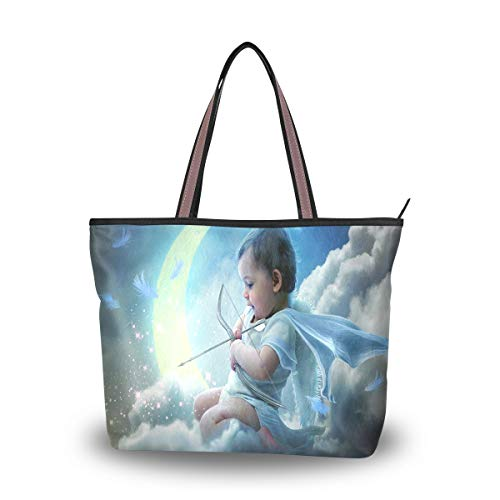 Women Shoulder Bag Vintage Handbag Cute Cupid Tote Bag Top Handle Large Capacity