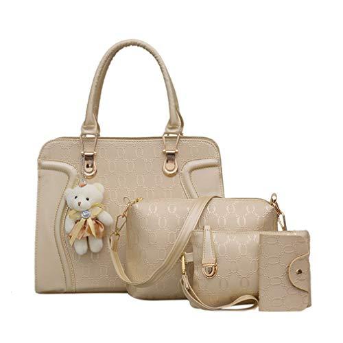 4Pcs Leather Bags Handbags With Bear Shoulder Female Casual Tote Women Messenger Bag Set
