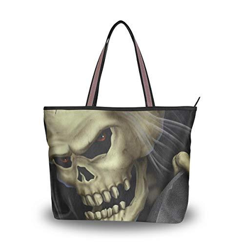 Women Tote Shoulder Bag Vintage Handbag Halloween Skull Human Tote Bag Top Handle