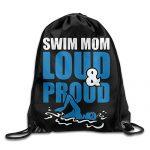 Swim Mom Loud And Proud Drawstring Backpack Bag Beam Mouth School Travel Backpack Shoulder Bags For Men/Women
