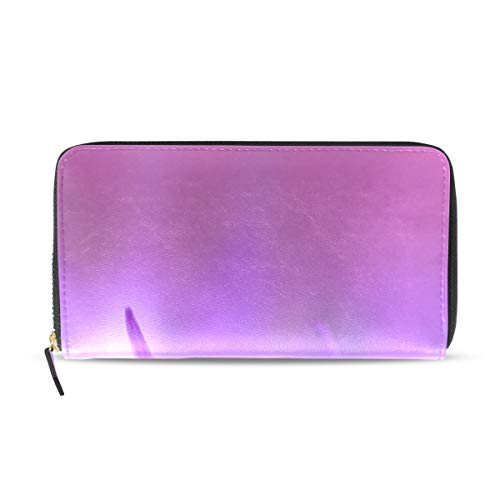 Womens Wallets Purple Chrysanthemum Petals Leather Passport Wallet Change Purse Zip Handbags