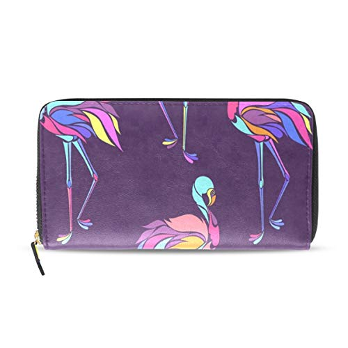 Womens Wallets Colorful Flamingos Leather Passport Wallet Change Purse Zip Handbags
