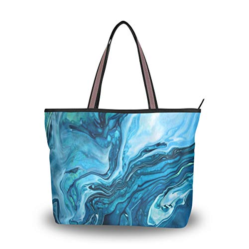 Women Tote Shoulder Bag Vintage Handbag Green Blue Marble Texture Design Tote Bag Top Handle