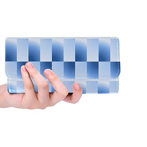 Unique Custom Glow Light Shine Surface Blue Women Trifold Wallet Long Purse Credit Card Holder Case Handbag