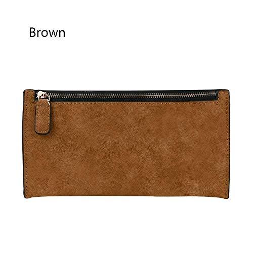 Handbag Storage Bag Zipper PU Leather Long Purse Women Wallet (color - brown)