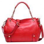 Heshe Womens Leather Top Handle Bags Tote Handbags Shoulder Bag Satchel Cross Body Handbag (Jester Red)