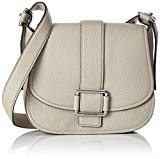 MICHAEL Michael Kors Womens Maxine Leather Shoulder Saddle Handbag Gray Large
