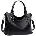Heshe PU Leather Handbag Vintage Tote Hobo Shoulder Bag Ladies Purse Designer Sacthel Cross Body Bag for Office Lady (Black)