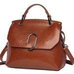 Women handbag Vintage Soft Genuine Leather Shoulder Bag Tote (Brown)
