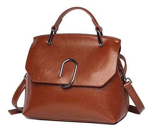 Women handbag Vintage Soft Genuine Leather Shoulder Bag Tote (Brown)