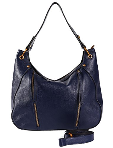 Heshe Leather Handbags for Women Top Handle Bags Shoulder Bag Satchel and Purses Cross Body Handbag (Navy Blue)
