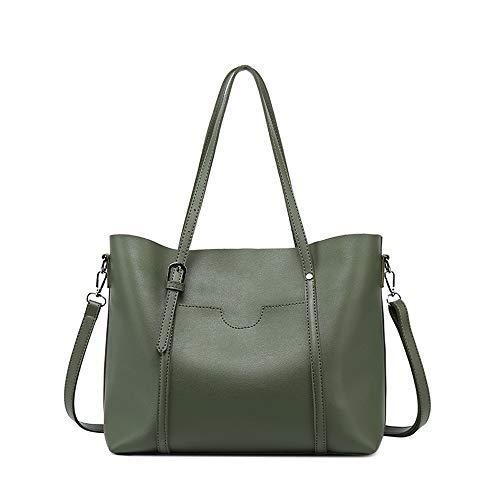 Heshe Leather Shoulder Handbags Work Tote Handbags Zippered Designer Ladies Purses Satchel Crossbody Bag (Dark Green)