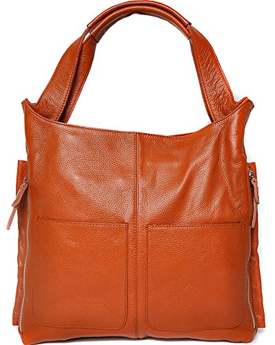 Heshe Genuine Leather Zipper Cross Body Shoulder Bag Satchel Tote Handbag For Women (Brown)
