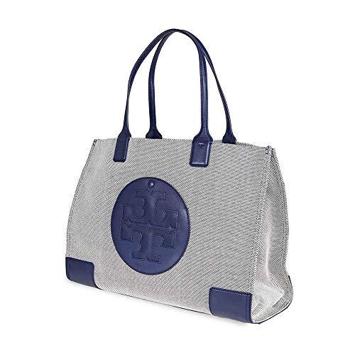 Tory Burch Women's Ella Canvas Tote Navy Handbag