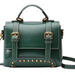 Heshe Vintage Leather Womens Handbag Ladies Designer Purse Shoulder Bag Small Totes Crossbody Bags Flap Purse with Rivets (Dark Green)