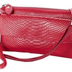 Heshe Genuine Leather Crocodile Clutch Organizer Purse Shoulder Crossbody Wrislet Bag Satchel Purse Handbag for Women (Rose)
