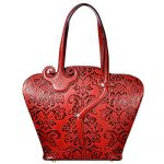 PIJUSHI Leather Tote Shoulder Bag for Women Designer Floral Purse Top Handle Handbags (99838 Red)