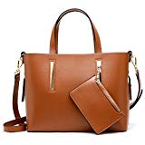 S-ZONE Leather Purses and Handbags for Women Shoulder Crossbody Bag with Matching Wallet (Brown)