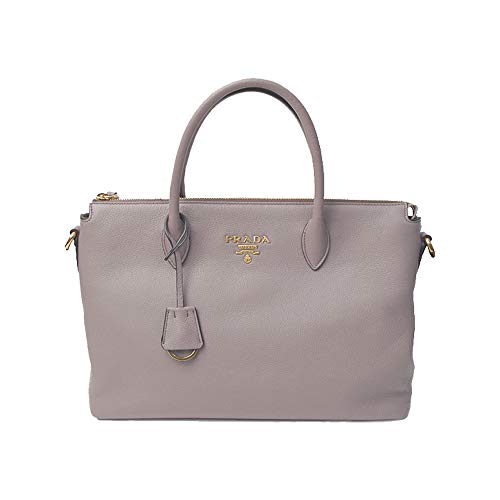 Prada Women's Vitello Phenix Handbag 1ba063 Gray Leather Tote