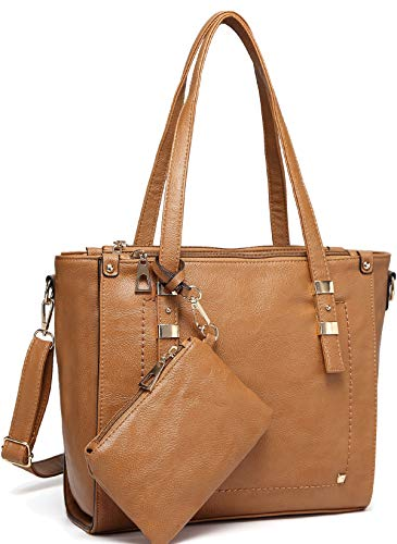 Tote Bag for Women,VASCHY Faux Leather Top Handle Triple Compartment Satchel Work Handbag Purse for Ladies with Little Pouch Camel