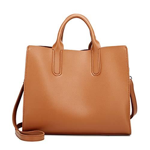 Heshe Faux Leather Women Handbags Tote Bag Top Handle Bag Shoulder Handbag Ladies Designer Satchel Purse Crossbody Bag (Brown)