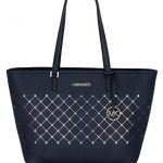 Michael Kors Womens Violet Saffiano Leather Travel Carryall Tote Handbag - Navy