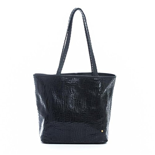 Gaspy Tracy Women's Tote Handbag - Handmade from 100 Percent Genuine Cow Leather (Black - Anaconda Pattern)