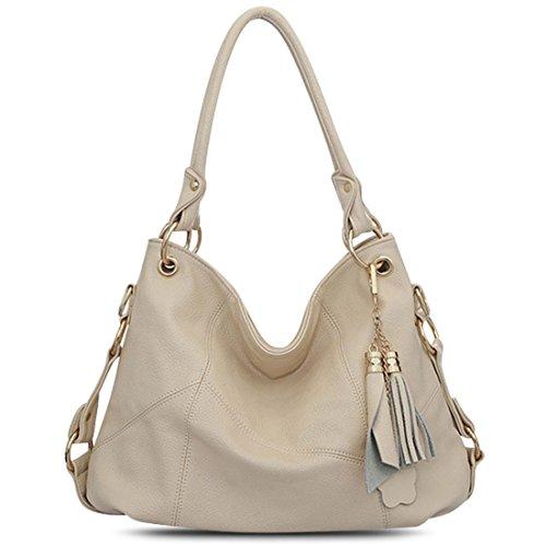 Vintga Genuine Leather Tote Bag Top Handle Satchel Handbag Tassel Shoulder Bag Large Purse Crossbody Bag for Women (Off White)