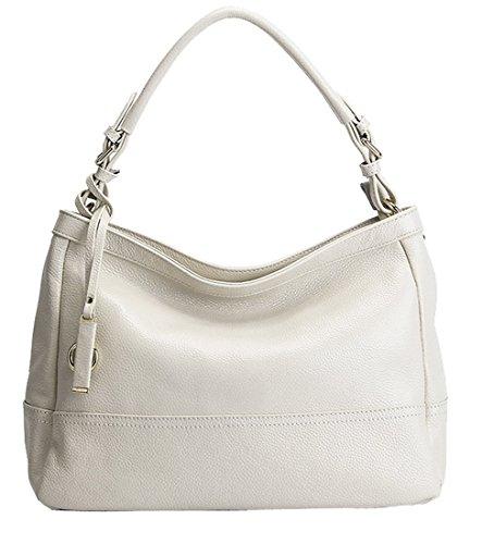 Heshe Womens Leather Handbags Shoulder Bag Top Handle Bag Tote Work Cross Body Satchel Ladies Purse (Beige)
