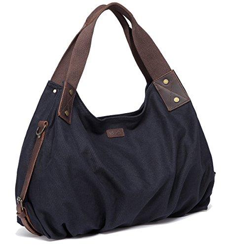Canvas Hobo Bag,VASCHY Vintage Large Leather Canvas Tote Handbag for Women Top Handle Work Bag Black with Detachable Shoulder Strap