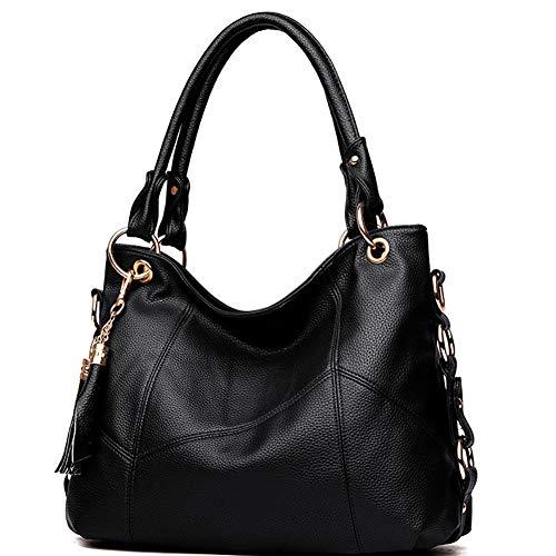 Women's Tote Shoulder Bag Handbag Purses Satchel Shoulder Bags Handle Bag Leather tassel (black)
