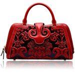 Naisibao Womens Designer Handbags and Purses Embossed Satchel Shoulder Tote Bag