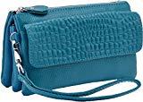 Heshe Genuine Leather Womens Clutches Bags Wrist-let Pocket Shoulder Bag Cross-body Handbags Satchel for Ladies (Sky Blue)