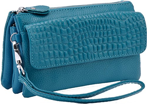 Heshe Genuine Leather Womens Clutches Bags Wrist-let Pocket Shoulder Bag Cross-body Handbags Satchel for Ladies (Sky Blue)