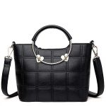 Top-Handle Mini Handbag for Women - Ladies Small Leather Bag and Purse (Black)